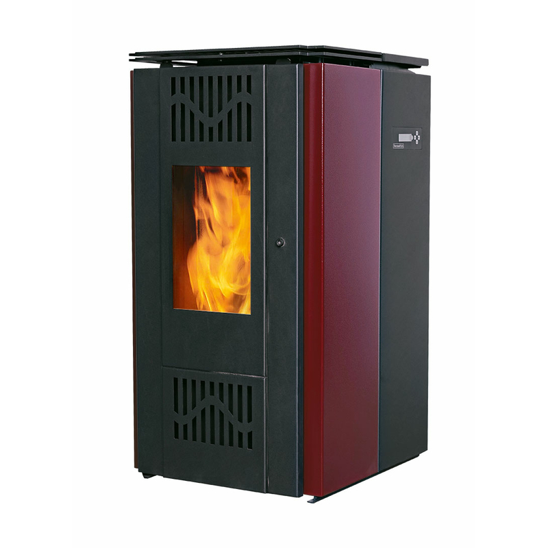 pellet stove oven water heater with 8 5 kw red bafa made in eu eu. Black Bedroom Furniture Sets. Home Design Ideas